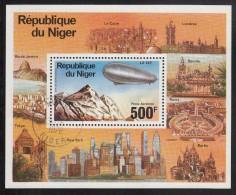 Niger Used Scott #C278 Souvenir Sheet 500fr LZ 127 Zeppelin Over Swiss Alps - 75th Anniversary Of Zeppelin - Niger (1960-...)