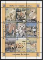 Niger MNH Scott #1003 Sheet Of 9 Different 180fr Rotary Emblem And Lions, Tiger, Leopard, Owl, Cranes, Antelopes - Niger (1960-...)
