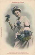 """FEMMES - FRAU - LADY  - Jolie Carte Fantaisie Femme Avec Violettes """"LANGAGE DES FLEURS"""" - VIOLETTE - Edit. BERGERET - Femmes"""