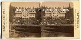 FOTOGRAFIA STEROSCOPICA ORIGINALE SANATORIUM MARILLA THAL CYOGYINTEZET ROMANIA ANNO 1893 - Stereoscopio