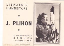 Rennes France 35 -librairie Universitaire Plihon Rue Motte Fablet - Protege Livre Cahier Et Calendrier 1956 - Ski Femme - Calendriers