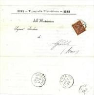 DOCUMENTO DI STORIA POSTALE - DA ROMA PER GRADOLI VALENTANO - TIPOGRAFIA ELZEVIRIANA - 1861-78 Victor Emmanuel II.