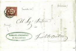 DOCUMENTO DI STORIA POSTALE - RARA CEDOLA DI CITAZIONE DI TESTIMONI - TRIBUNALE DI NICASTRO - 1861-78 Victor Emmanuel II.