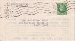 RF; Imprimes Pour Nancy 1945 - 1945-47 Ceres De Mazelin