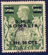B.O.I.C. 1948 KGVI 2s.50c. On 2s.6d. Yellow-green, Surch B.M.A. SOMALIA, VF Used - British Levant