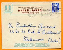 LE PUY EN VELAY   VILLE SAINTE   25 / 7 / 1953    Lettre Entière    N°  F 710 - Postmark Collection (Covers)