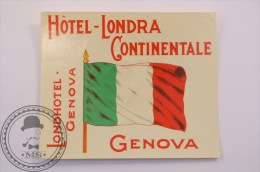 Hotel Londra Continentale Genova, Italy - Original Luggage Label - Sticker - Hotel Labels