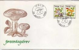 R  400  Hongos, Setas, Champignons, Micologia, FDC  Oslo 1988 Noruega - Mushrooms