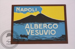Hotel Albergo Vesuvio Napoli, Italy - Original Vintage Luggage Label - Sticker - Hotel Labels