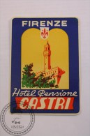 Hotel Pensione Castri Firenze/ Florence Italy - Original Luggage Label - Sticker - Hotel Labels