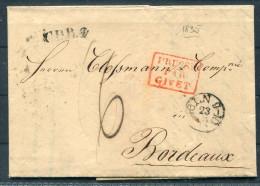 """1835 Germany Coln - Bordeaux, France  """"Prusse Par Givet"""" + C.P.R.2 + Taxe De 6 Decimes - Germany"""
