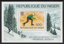 Niger MNH Scott #C268 Souvenir Sheet 500fr Speed Skating - 1976 Winter Olympics Innsbruck - Niger (1960-...)