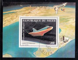 Niger Used Scott #C309 Souvenir Sheet 500fr Space Shuttle Columbia - Conquest Of Space - Niger (1960-...)