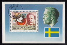 Niger Used Scott #C287 Souvenir Sheet 500fr Theodore Roosevelt - Nobel Peace Prize - Niger (1960-...)