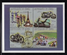 Niger MNH Scott #954 Sheet Of 4 Different 300fr Bicycles And Motorcycles - Niger (1960-...)