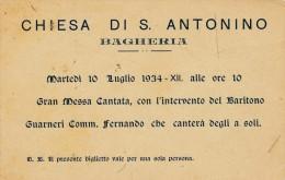 BAGHERIA (PA) CHIESA DI S. ANTONIO MESSA CANTATA CON IL BARITONO GUARNERI 1934 - Biglietti D'ingresso