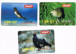 SLOVENIA (SLOVENIJA, SLOVENIJE) - GSM RECHARGE MOBITEL - UCCELLI (BIRDS): LOT OF 3 DIFFERENT (USED -  RIF. 3149 - Slovenia