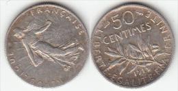 FRANCIA 1919 - 50 CENTIMES DE PLATA (SILVER) DE 1919 - Francia
