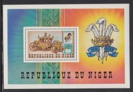 Niger MNH Scott #551 Souvenir Sheet 400fr Charles And Diana, Coach - Royal Wedding - Niger (1960-...)