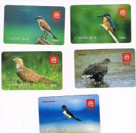 SLOVENIA (SLOVENIJA, SLOVENIJE) - GSM RECHARGE MOBITEL - BIRDS: LOT OF 5 DIFFERENT - USATA (USED)  -  RIF. 3155 - Slovenia