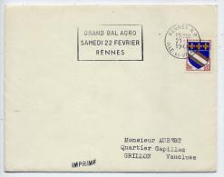 """Flamme-1964--RENNES--35 --Grand Bal Agro Samedi 22 Février --sur Lettre Entière """"IMPRIME"""" - Marcophilie (Lettres)"""