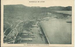 MARSEILLE EN AVION, LES BASSINS DE LA JOLIETTE ET LA CORNICHE. PHOT. M. FLANDRIN SUR AVION DES LIGNES  LATÉCOÈRE - Joliette