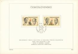 Czechoslovakia / First Day Sheet (1973/06b) Bratislava (1): Fighters Against Fascism (Clementis, Smidke, Osoha, Molak) - 2. Weltkrieg