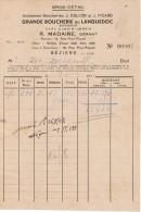 1947 GROS-DETAIL ANCIENNES BOUCHERIES J. COLLON ET J. PICARD GRANDE BOUCHERIE DU LANQUEDOC R. MADAIRE GERANT BEZIERS - France