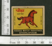 India RED HORSE Animals Safety Match Box Label # MBL161 - Matchbox Labels
