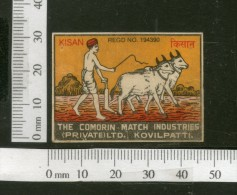 India KISAN Bull Cart Agriculture Safety Match Box Label # MBL172 - Matchbox Labels