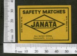 India JANATA Safety Match Box Label # MBL180 - Matchbox Labels