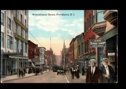 USA Providence, Westminster Street, Animée, Colorisée, Tramway, Chic Shoe Shop, Ed W, 1913 - Providence