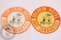 Hotel Esplanade East London South Africa - 2 Original Luggage Labels - Stickers - Etiquetas De Hotel