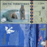 ARCTIC TERRITORIES 1.5, 1 1/2 DOLLARS 2014 PLOYMER POLAR BEARS UNC - Banconote