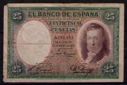 BILLETE DE 25 PESETAS DE 1931 - USADO - [ 2] 1931-1936 : Repubblica