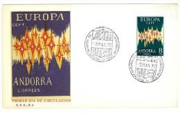 ANDORRA SPAGNOLA - EMISSIONE EUROPA CEPT - FDC F.4 - PRIMER DIA DE CIRCULACION - FDC - Europa-CEPT