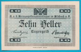 AUSTRIA, ERSTE WELTKRIEG, LAGERGELD, K. U. K. KRIEGSGEFANGENEN LAGER ASCHACH, 10 HELLER, BEIDSEITIG - Austria