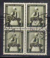 SS2728 - ALBANIA 1942,  Yvert  N.  280 In Quartina Usata - Albania