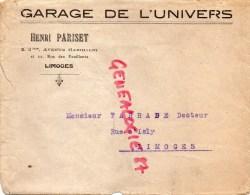 87- LIMOGES - BELLE ENVELOPPE PUB - GARAGE DE L' UNIVERS-HENRI PARISET 2BIS- AV. GARIBALDI ET 22 RUE FEUILLANTS- - Frankreich