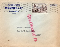 87- LIMOGES - BELLE ENVELOPPE PUB - MIROITERIE MOUNET & CIE - 1956- A MME TARRADE RUE DU 71E MOBILE - Frankreich