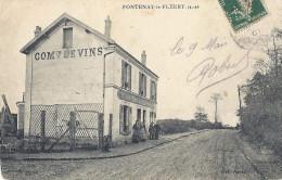 Cp 78 FONTENAY LE FLEURY ( Commerce De Vins  Habitation  ) Animée ( Timbre Perforé Semeuse 5 C Vert AVC ?? ) - France