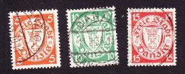 Danzig, Scott #170, 173, 176, Used, Coat Of Arms, Issued 1924 - Danzig
