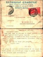 251) Cartolina Con 20c. Ferrucci Con Pubblicità Viaggiata Da Riposto Per Città Il 5-11-1930 - 1900-44 Vittorio Emanuele III