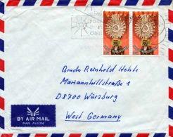 PAPUA NEW GUINEA 1950?, 2 Fach Sondermarken Frankierung Auf Brief Von Papua New Guinea > Würzburg - Papua-Neuguinea
