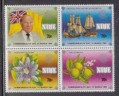 Niue MNH Scott #371a Block Of 4 Flag, Premier, Ships, Flower, Limes - Commonwealth Day - Niue