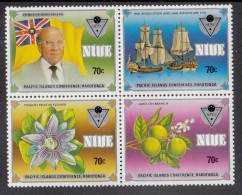 Niue MNH Scott #487a Block Of 4 Flag, Premier, Ships, Flower, Limes - Commonwealth Day Overprint Pacific Islands Conf. - Niue