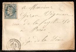 N° 29B Oblitéré 924 Chateau-Renault Sur Lettre De 1869 - 1849-1876: Période Classique