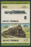 Tuvalu Niutao 1985 Mi 49-50 ** A.T.&S.F. 1301 4-4-6-2 (1909), USA / Lokomotive - Treinen