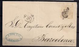 ED. 106, 25 MILÉSIMAS, ENVUELTA CIRCULADA A BARCELONA - 1868-70 Gobierno Provisional