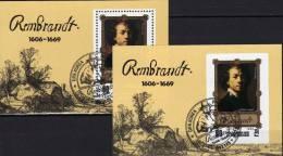 Gemälde Von Rembrandt 1983 Korea Block 137 A Plus B O 12€ Selbstporträt Des Maler Hojas Painting Bloc Art Sheet Bf Corea - Corée Du Nord